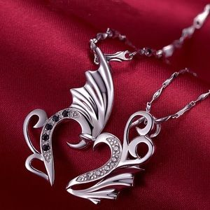 Jewelry - 2pcs Angel Wing Heart Shaped Necklaces